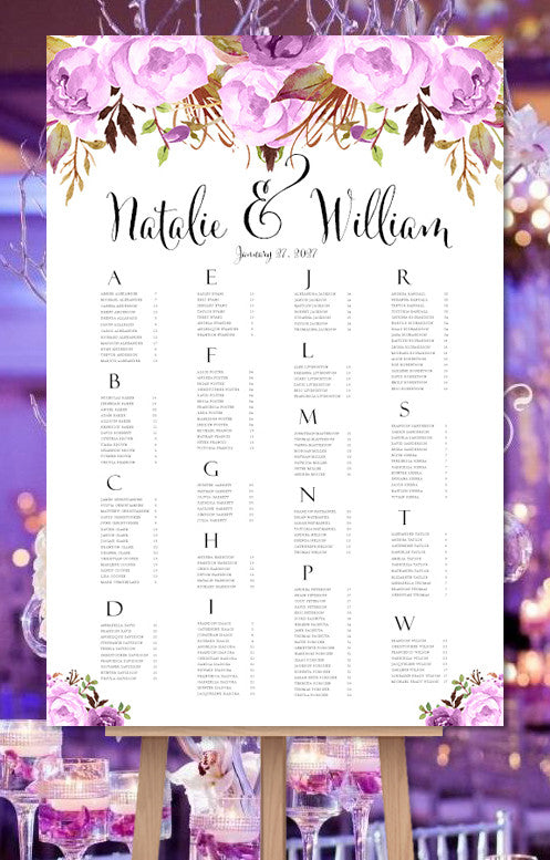 wedding seating chart purple romantic blossoms watercolor floral
