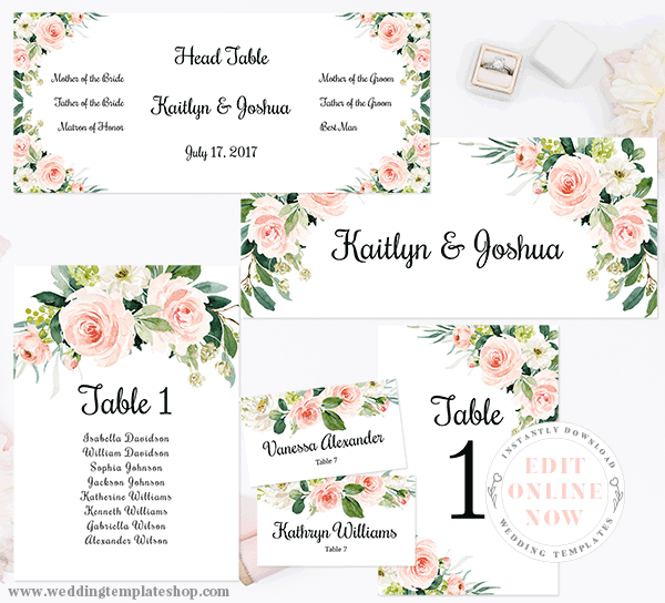 Wedding Seating Chart Set Table Numbers Place Cards Edit Online Now