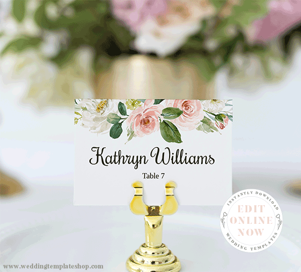Wedding Flat Place Card Blush Florals Edit Online, Download, Print