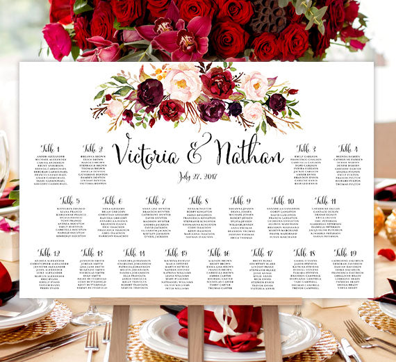 Wedding seating chart poster burgundy red blush pink for Bridal shower seating chart template