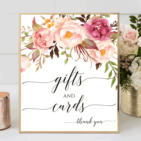 Wedding Sign Printable Gifts and Cards Romantic Blossoms
