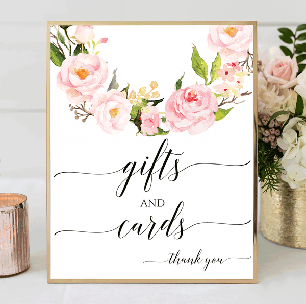 Wedding Sign Printable Gifts and Cards Blush Floral Wreath Printable
