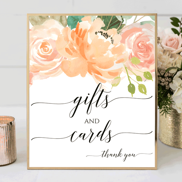 Wedding Sign Printable Gifts and Cards Peach Blush Florals DIY