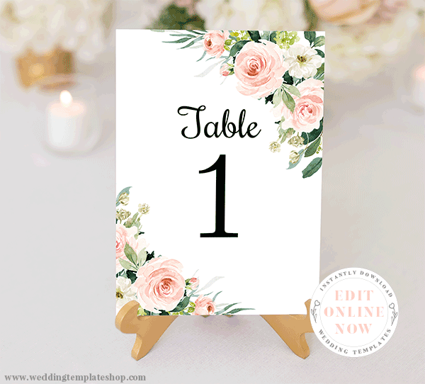 Wedding Table Number Cards Blush Florals Edit Online, Download, Print