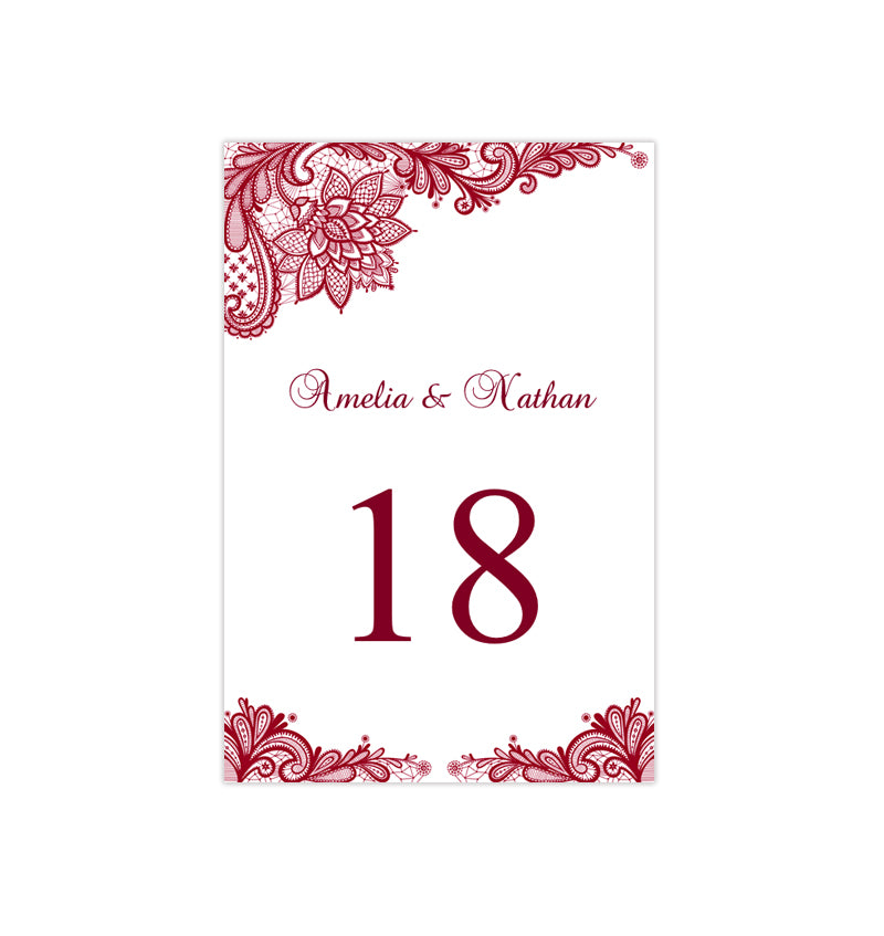 picture about Diy Printable Table Numbers referred to as Wedding day Desk Variety Template Traditional Lace Burgundy Flat