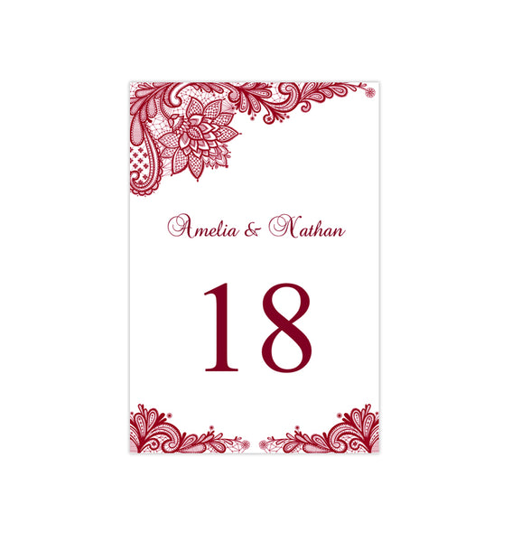 Wedding Table Number Template Vintage Lace Burgundy Flat Printable DIY