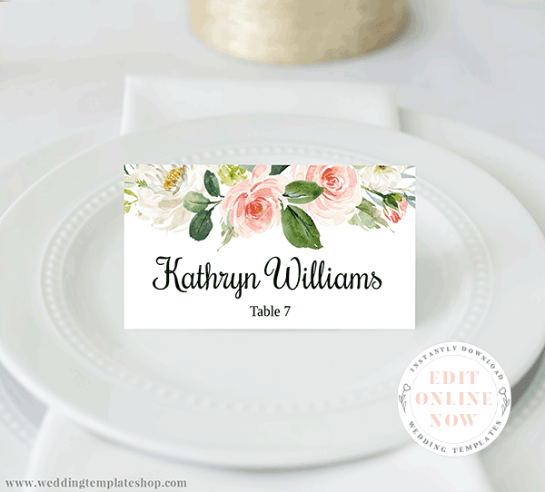 Wedding Tent Place Card Blush Florals Edit Online, Download, Print