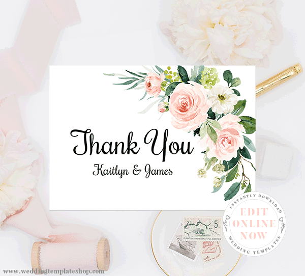 Editable with Instant Download Burgundy and Blush Digital Thank You Card Template 3.5 x 5