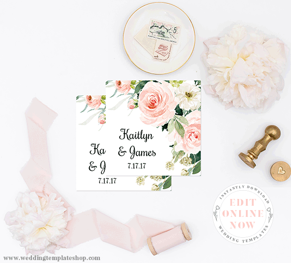 Wedding Thank you or Favor Fags Blush Florals Edit Online and Print