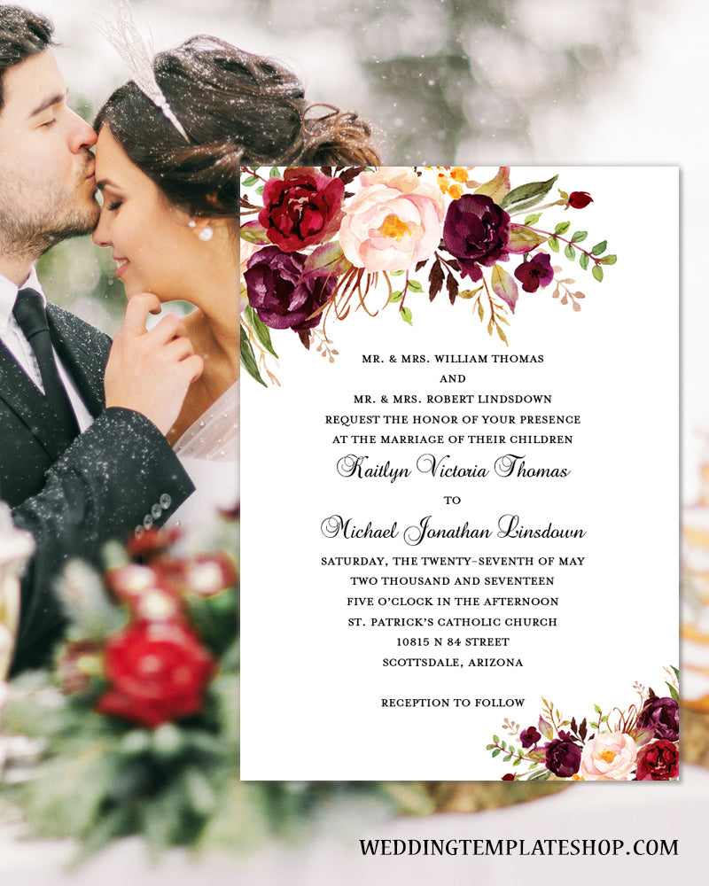 Red And Pink Wedding Invitations: Printable Wedding Invitation Romantic Blossoms Make Your