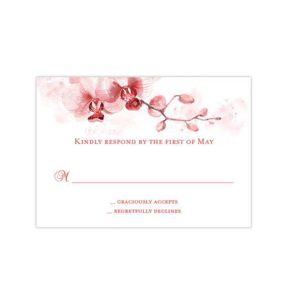 Wedding Response Cards Orchid Coral Orange Printable DIY Templates