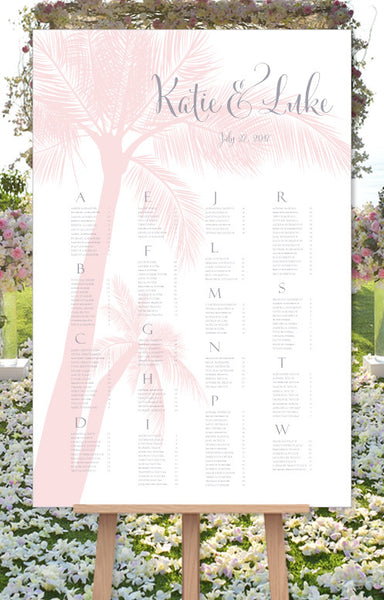 Wedding Seating Chart Poster Beach Palm Tree Blush Palms