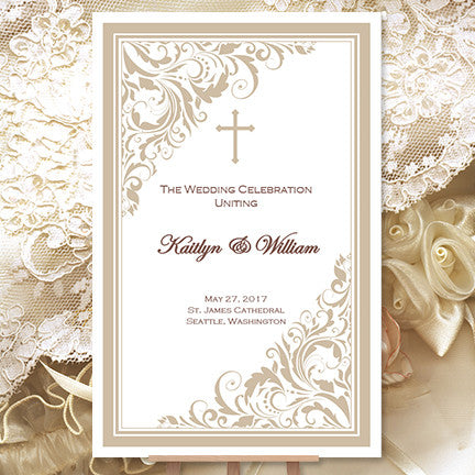 Catholic Church Wedding Program Brooklyn Champagne