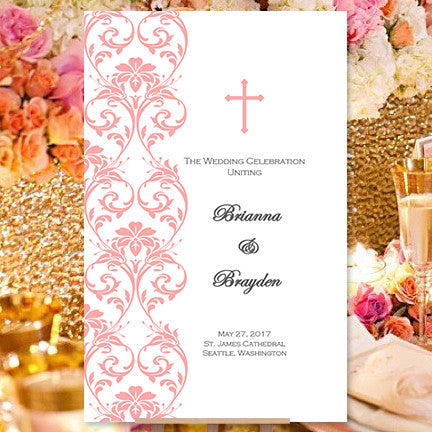 catholic church wedding program damask coral reef wedding template