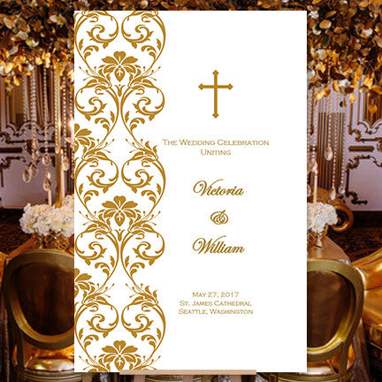 Catholic Church Wedding Program Damask Gold