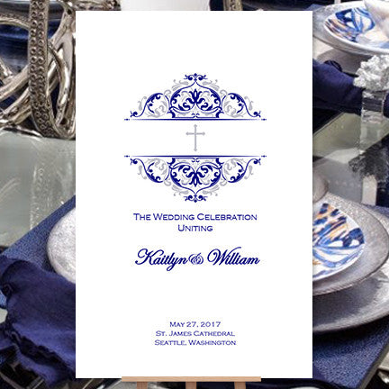 Catholic Church Wedding Program Grace 2 Navy Blue Silver