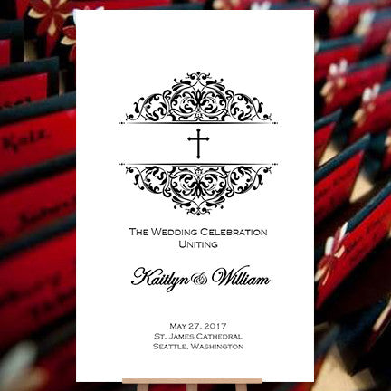 Catholic Church Wedding Program Grace 2 Black White