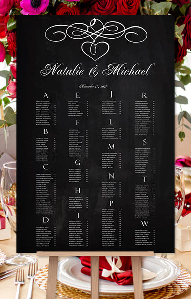 Wedding Seating Chart Poster Calligraphic Heart Chalkboard