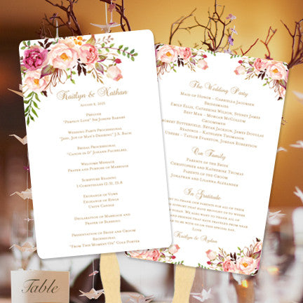 wedding program fans wedding program fan blossoms diy ceremony program 12386