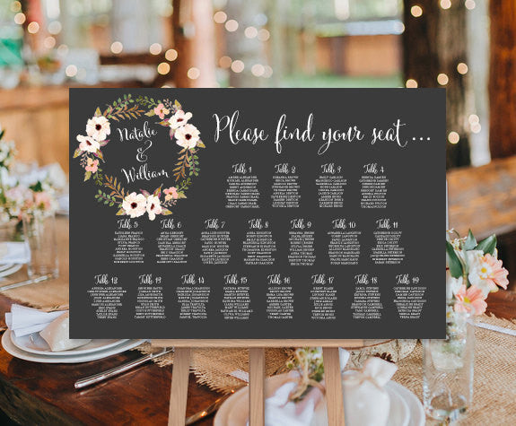 Wedding Seating Chart Poster Floral Wreath 3 Chalkboard Print Ready Digital File