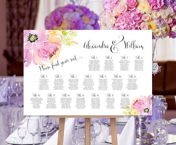 Wedding Seating Chart Poster Watercolor Floral 9