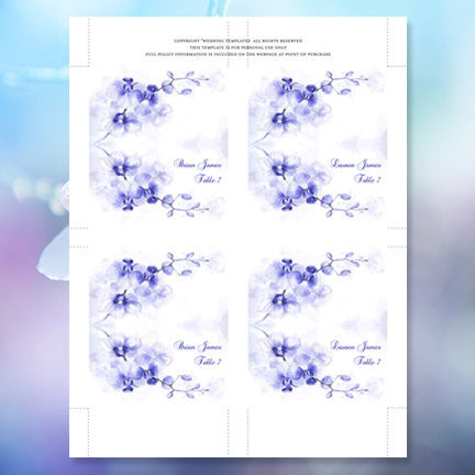 Wedding Seating Card Orchid Blue Shades Tent