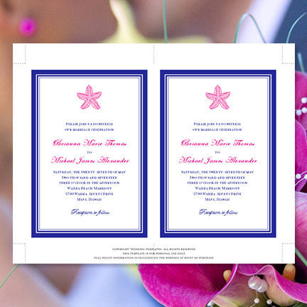Beach Starfish Wedding Invitation Hot Fuchsia Pink Royal Blue