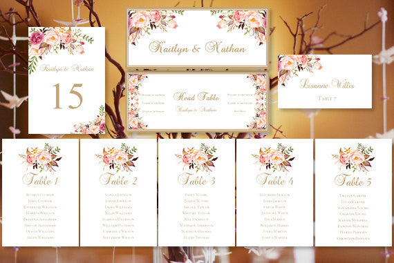 wedding seating chart set romantic blossoms wedding template shop. Black Bedroom Furniture Sets. Home Design Ideas
