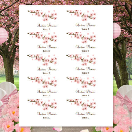 photograph about Place Card Printable named Printable Marriage Point Playing cards Cherry Blossom Flat