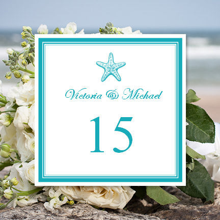 Printable Table Number Template Starfish Blue Tent