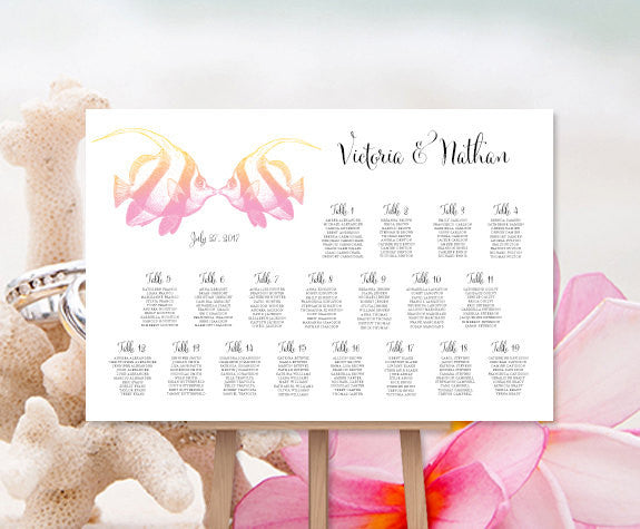 Wedding Seating Chart Poster Tropical Fish