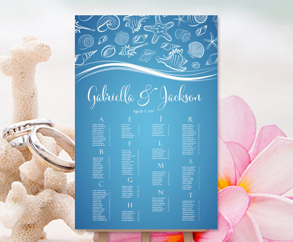 Wedding Seating Chart Poster Tropical Seashells Blue White