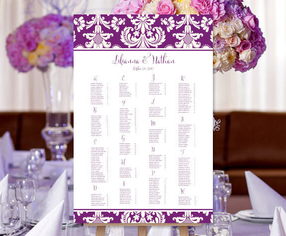 Wedding Seating Chart Poster Damask Plum Purple