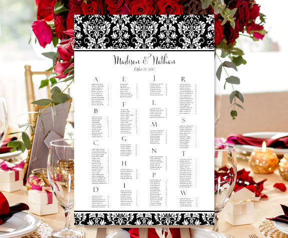 Wedding Seating Chart Poster Damask Black White