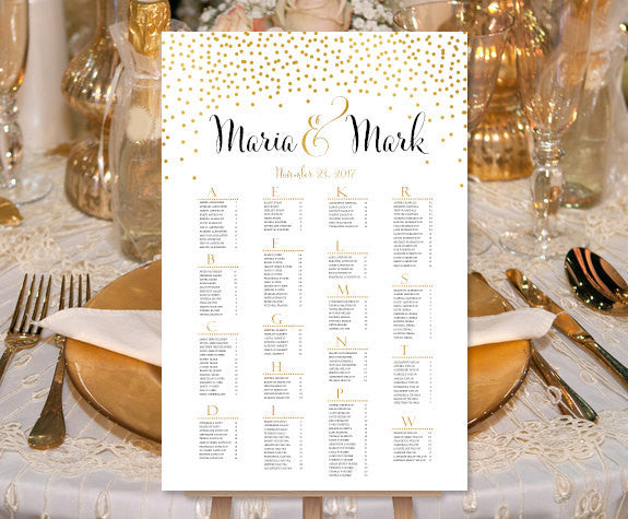 Wedding Seating Chart Poster Confetti 2 Gold Print Ready Digital File