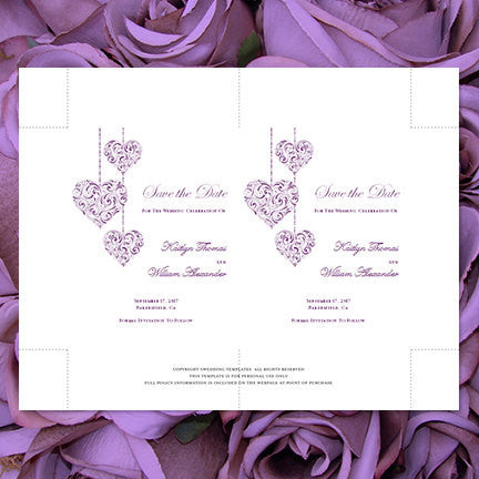 Wedding Save the Date Cards Hearts Purple