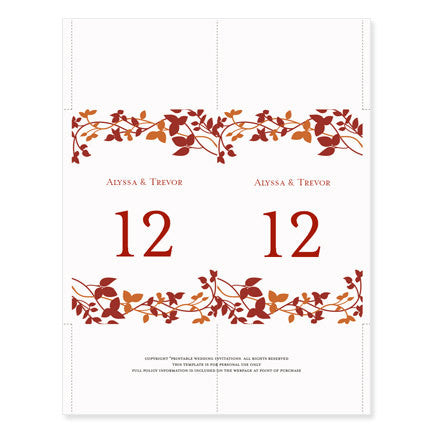 Wedding Table Number Template Forever Entwined Fall Red Orange Flat - Table number template