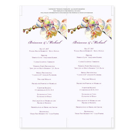Slim Wedding Program Template Orchid