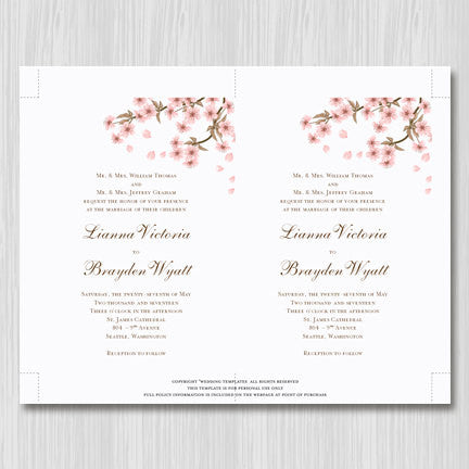 Cherry Blossom Wedding Invitation Pink