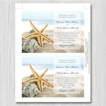 Starfish Wedding Invitation Beach Theme