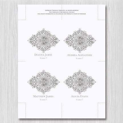 Wedding Seating Card Vintage Gray Tent