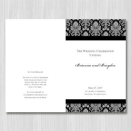 Wedding Program Template Damask Black White