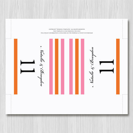 Printable Table Number Template Simply Stripes Pink Orange Tent