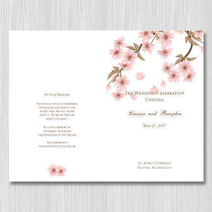 Wedding Program Template Cherry Blossom - Wedding Template Shop