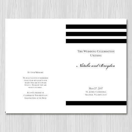 Wedding Program Template Simply Stripes Black White