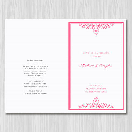 Wedding Program Template Vintage Pink