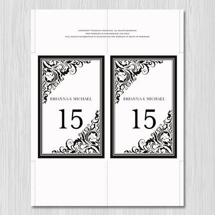 Wedding Table Number Template Brooklyn Black White Flat