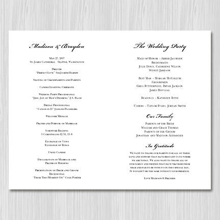 Wedding Program Template Vintage Black White
