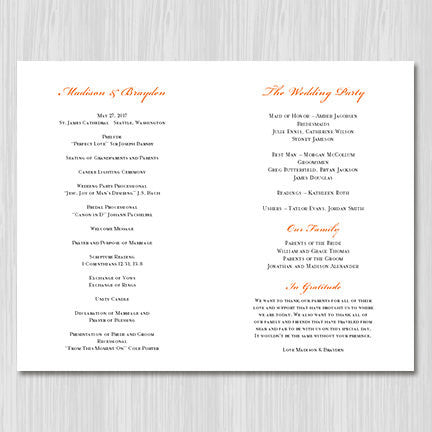 Wedding Program Template Vintage Orange