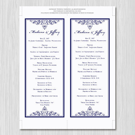 Slim Wedding Program Vintage Navy Blue